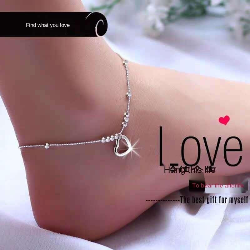 KbNjF S925 plata de ley de transferencia de pequeñas joyas pulsera redonda Día de San Valentín de las mujeres simples granos de perlas de joyería de regalo para el tobillo de las mujeres de