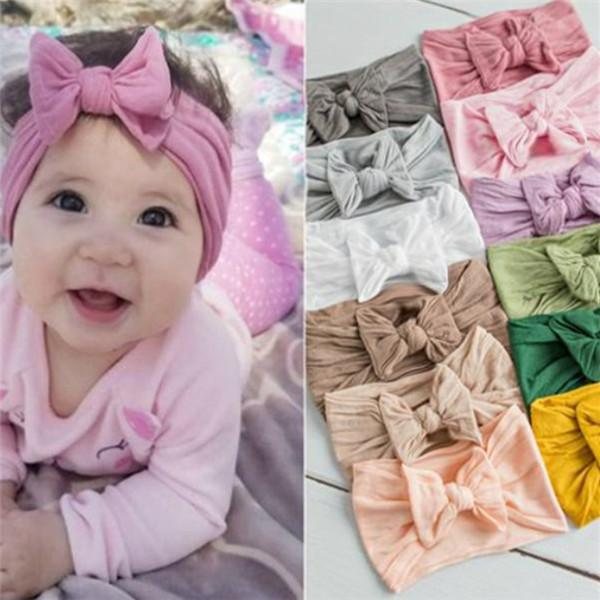 Bebek Kız Turban Kafa Yumuşak Naylon Headwraps Bow Knot Bantlar Sıkı Saç Bantları Çocuk Küçük Kız Moda Saç Aksesuarları
