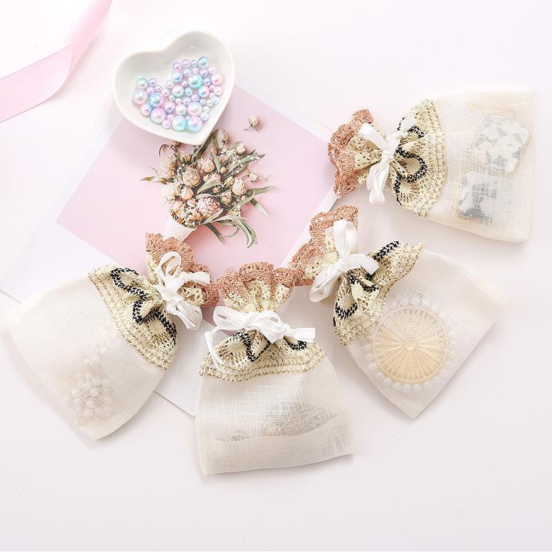 6pcs 10x14cm Bege Aceno Lace jóias sacos Branco cordão Organza saco de embalagem do presente da festa de casamento Bag