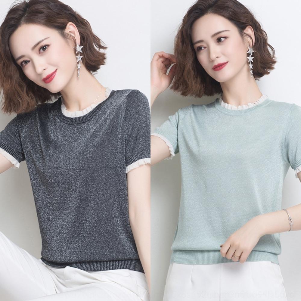 fMxIe T-Shirt mit kurzem Rock Seide Strickwaren Frauen verdünnen kurzen Kurzarm-T-Shirt mit Rundhalsausschnitt hellen Holz jungen Randes Seide Ohr westlichen Stil