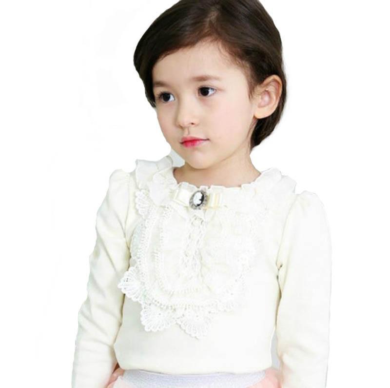 Primavera dulce del otoño del bebé muchachas del cordón camiseta de moda arco de los niños remata las tes de algodón blusa de los niños del niño ropa informal