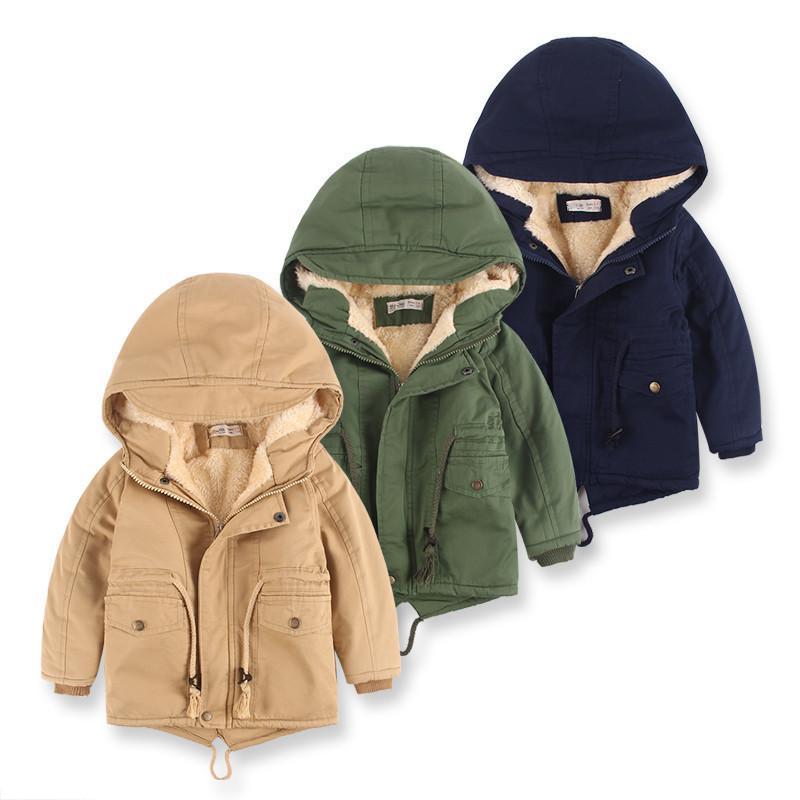 Çocuklar Kış Polar Açık yelekleri Erkek Kapşonlu Sıcak Çocuklar Kabanlar WINDBREAKER Sonbahar Casual Erkek Bebek Coats Giyim