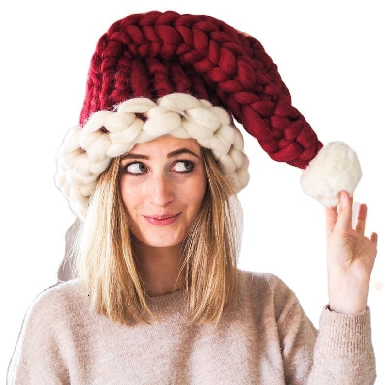 Cappello da Babbo Natale-lavorate a mano Chunky Hat-Unico regalo di Natale-calza riempitivo cappello di festa vacanza