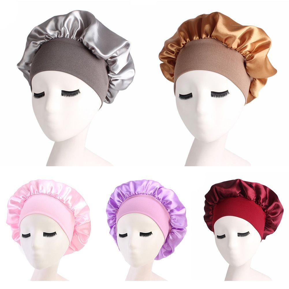 Kadın Saten Katı Şapka Gece Uyku Cap Saç Bakımı Bonnet Nightcap İçin Kadın Erkek Unisex Cap kaput de nuit Sleeping Geniş kenarlı