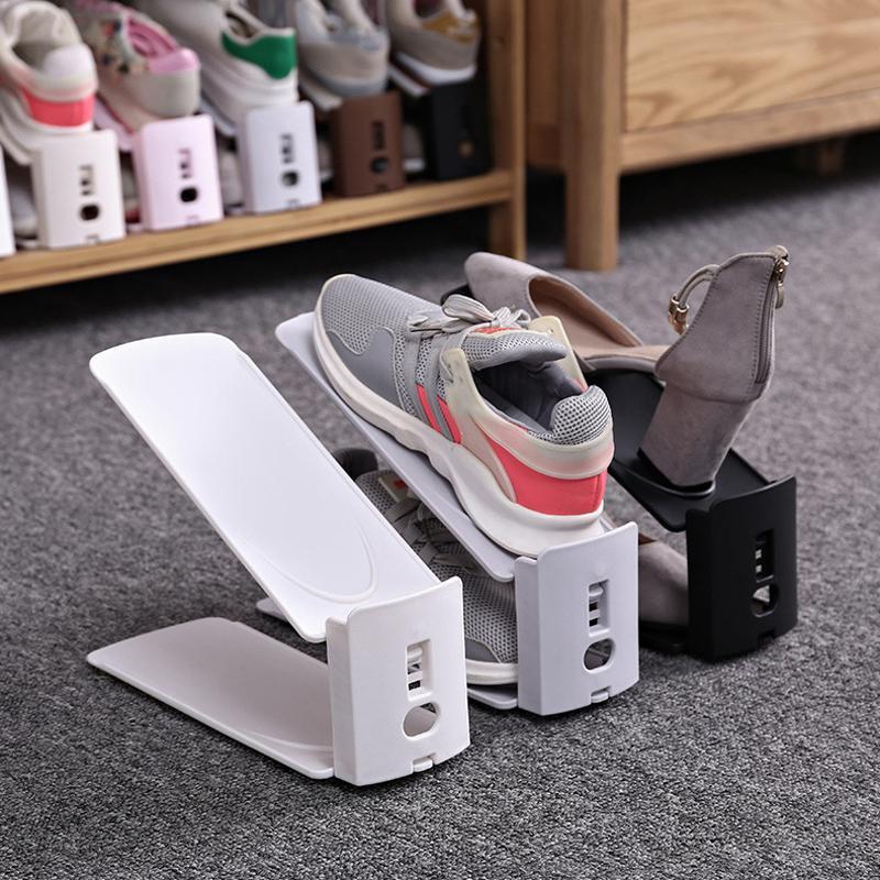 Semplice plastica scarpiera durevole scarpe regolabile Organizzatore calzatura spazio supporto del Governo di economia ripostiglio basamento del pattino Shoerack VT1689
