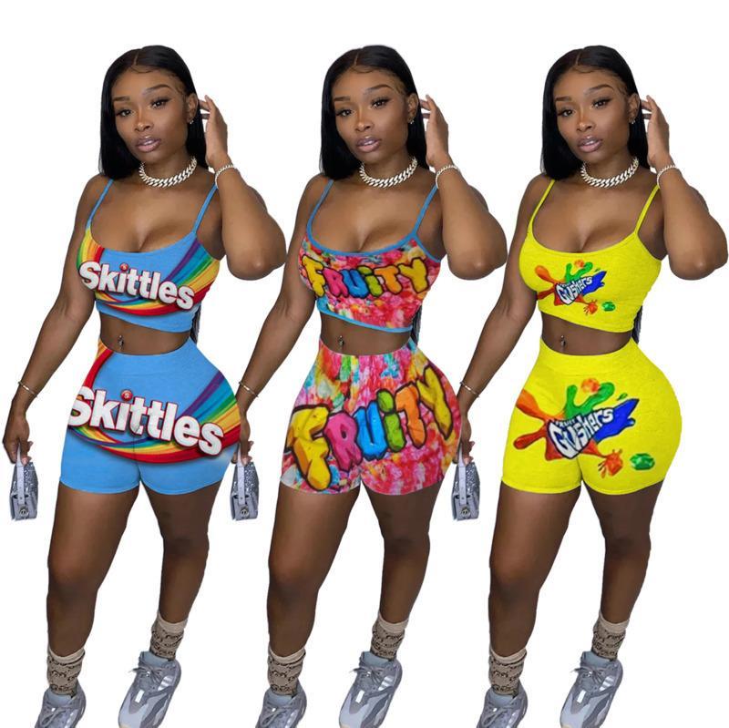 Kadınlar Tracksuits İki adet Seti Moda Günlük Baskılı Kaşkorse Üst Şort Kolsuz Kısa Pantolon 3 Renkler Bayanlar Kıyafetler 2020