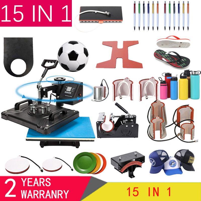 15 في 1 آلة الصحافة الحرارة، التسامي طابعة / نقل حذاء آلة القلم الصحافة الحرارة على القدح / كاب / تي شيرت / الحذاء / زجاجة / قلم / كرة القدم