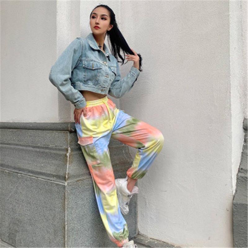 Pantalon taille haute élastique Mode Sarouel coloré Designer Femme multi-poches avec cordon de serrage en vrac Pantalons pour femmes Tie-dye Casual