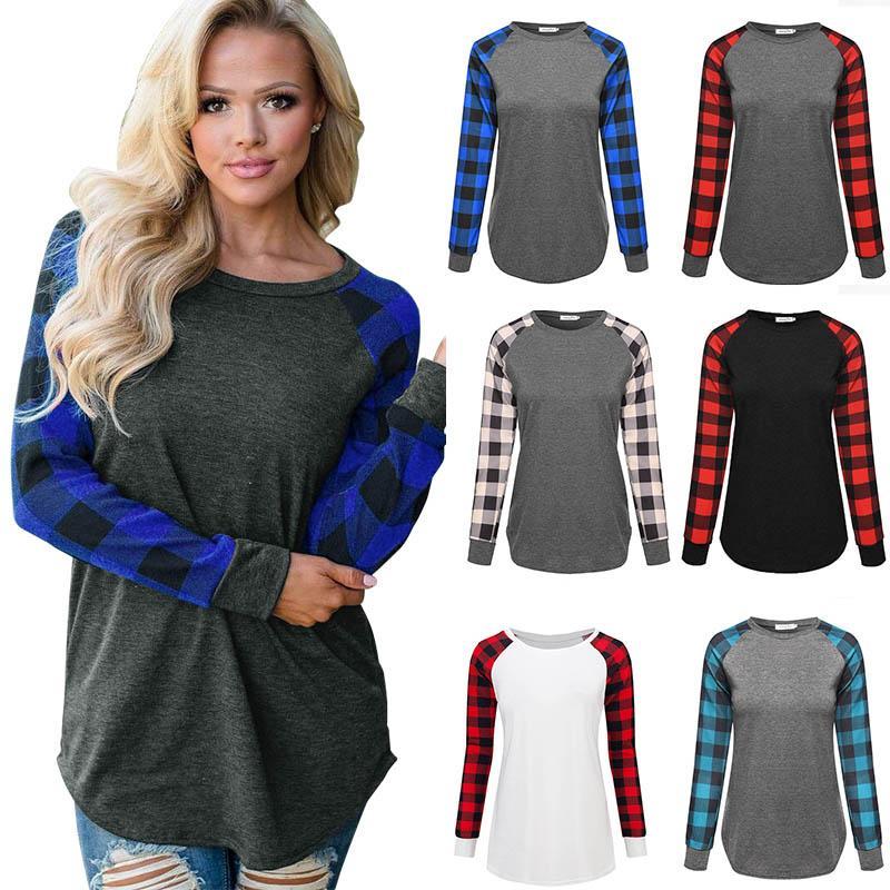 Women Plaid Tops T Shirts Ladies Long Sleeve Casual Shirts Autumn Round Collar Pullover Tees Female Plus Size Sweatshirt 050919