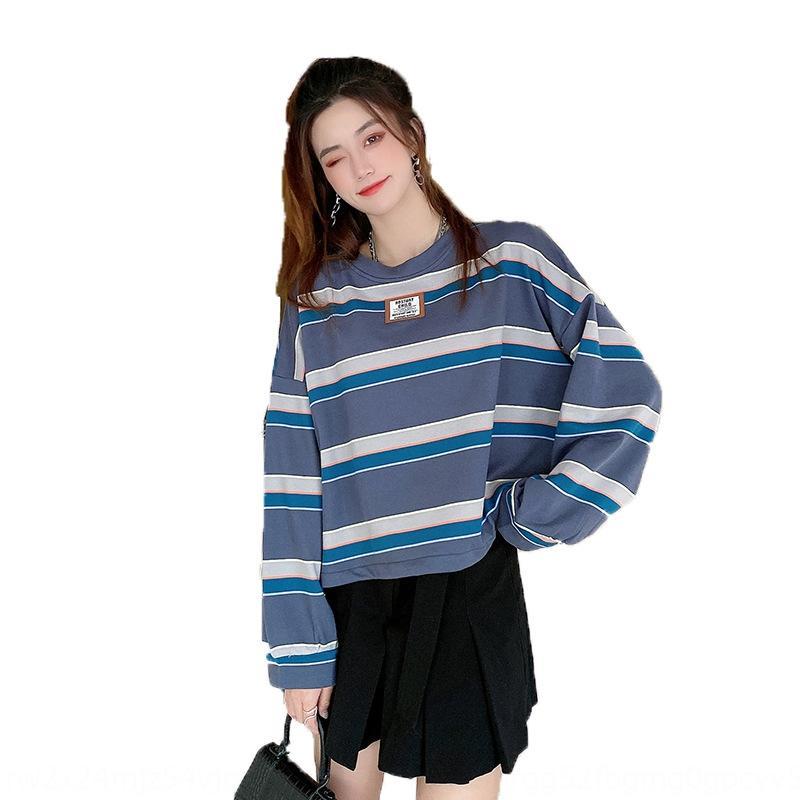 2020 Automne Nouveau T-shirt de style coréen T-shirt T-shirt TOP TOP PAYS CONTRAT DE VENT DE VENT DE VENT DE TRANSFORME ROUNTE COLLEMENT PUBLAIRE DE T-shirt T-shirit pour WO pour WO