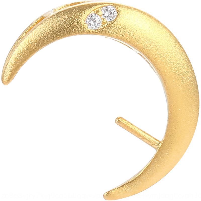 bm906 S925 orecchino barca luna vuota Crescent curvo orecchini titolare intarsiato perle tonde in argento ciondolo in argento titolare ciondolo eardrop