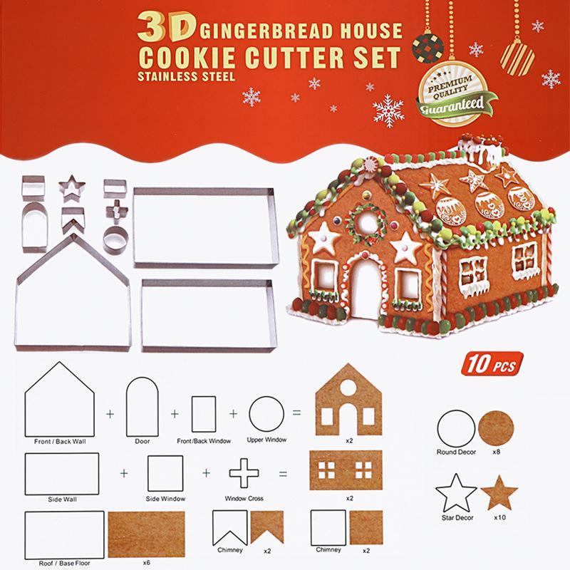 Noel Çerez Kesici Seti 10 Adet Paslanmaz Çelik Kurabiye Ev Bisküvi Kalıp 3D Pişirme araçları