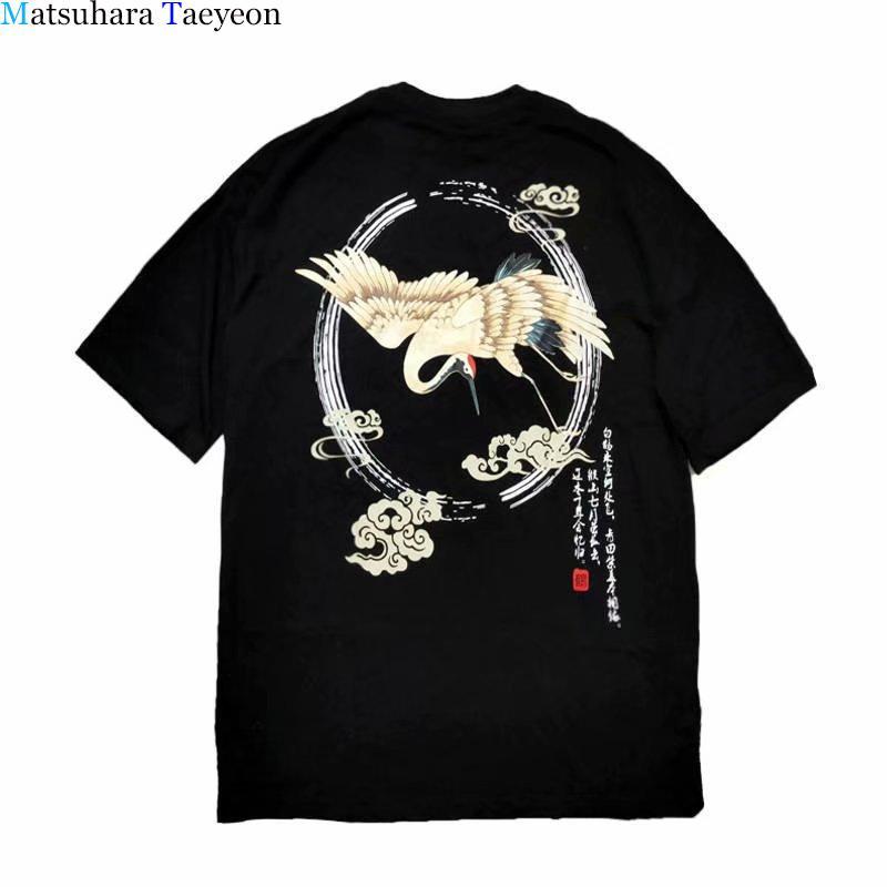 Кран Футболка Streetwear Hip Hop Печать O-образным вырезом Летняя Причинная Одежда T Shirt Хлопок с коротким рукавом Футболка Мужчины