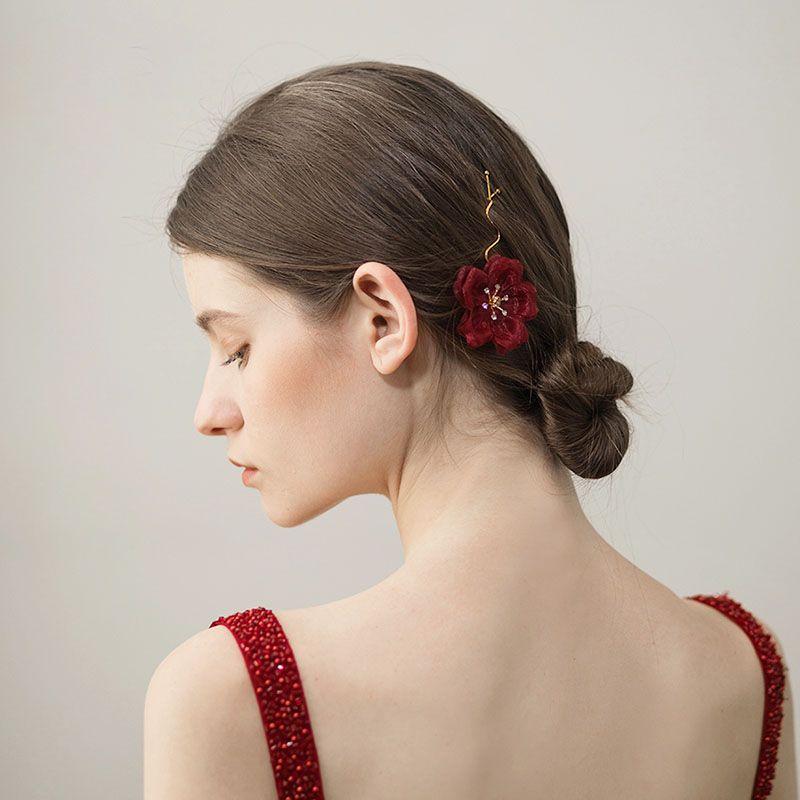 Basit Kırmızı Çiçek Gelin Tokalar Düğün Saç Aksesuarları Moda başlıkiçi Çiçek Saç Takı
