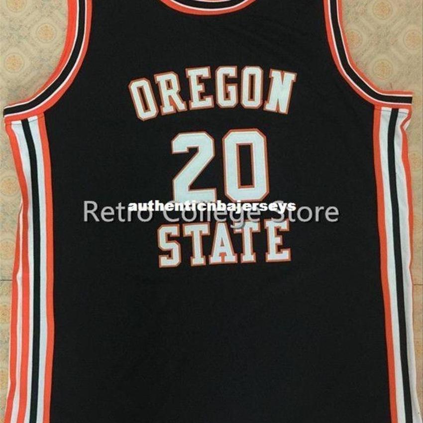 # 20 Gary Payton Oregon State Beavers pallacanestro Jersey nero cucito cucito Personalizza qualsiasi dimensione e nome XS-6XL gilet maglie