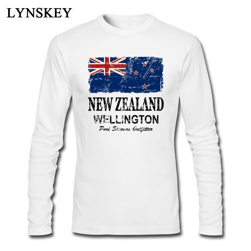 2020 t-shirts Natal Nova Zelândia Bandeira Impresso Mens manga comprida homem do estilo Vintage Branca Top Teeshirt cabido da equipe