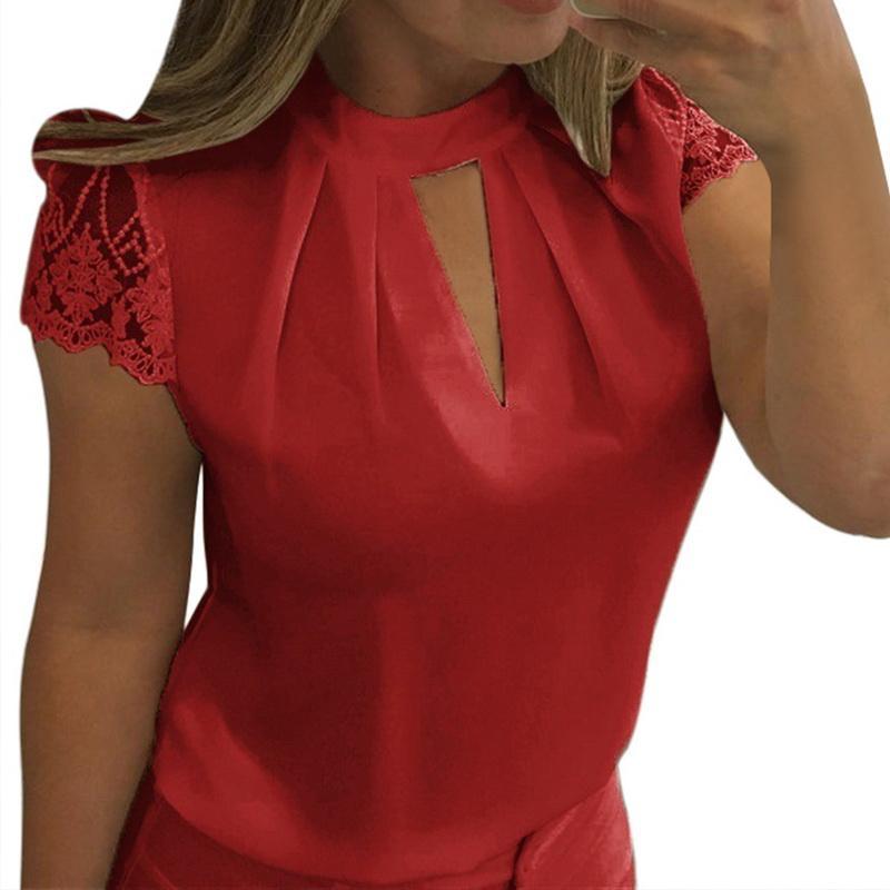 2020 Seksi Dantel Bluzlar Kadınlar Hollow Out Femme Katı Casual Büro Gömlek Plus Size blusas V Yaka Streetwear Tees Tops