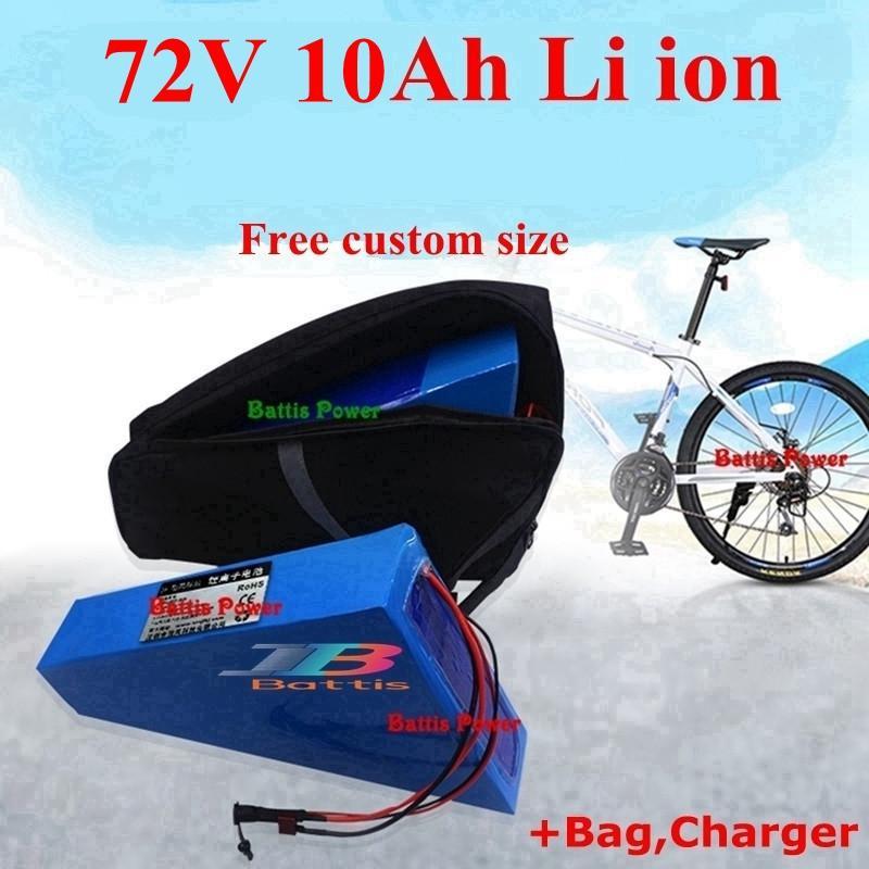 72V 10Ah litio ioni Triangle batteria Li 18650 BMS per 1500w 2000w Motorcyle motorino E bici bicicletta bag + 2A caricatore
