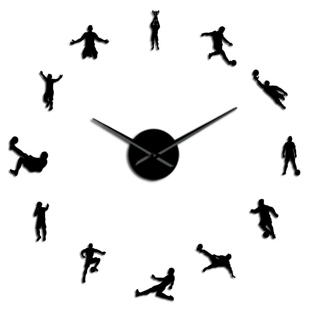 Fãs relógio do jogo Assista decoração do quarto relógio grande Jogadores extragrandes parede de Futebol Contemporânea Futebol crianças Futebol Living Recados Diy Kimbj