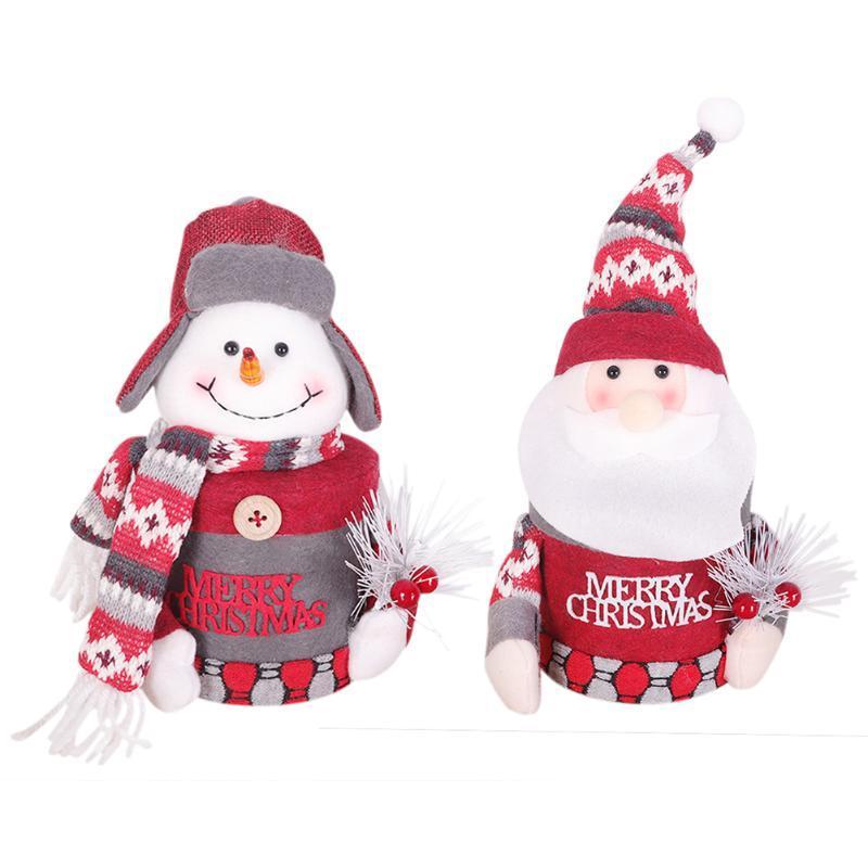 Рождественский снеговик Санта-Клаус плюшевые куклы украшения куклы Jar Box Подарочные украшения рабочего Jewelry Box Украшение Supplies Дети подарок