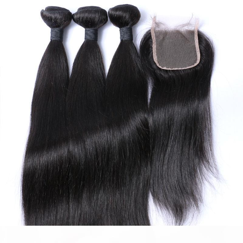Brazilian Straight Hair Bundles With Closure Human Hair Weaves Closure 3Bundles With Lace Closure 4x4 Free Part Natural Color 1B Color
