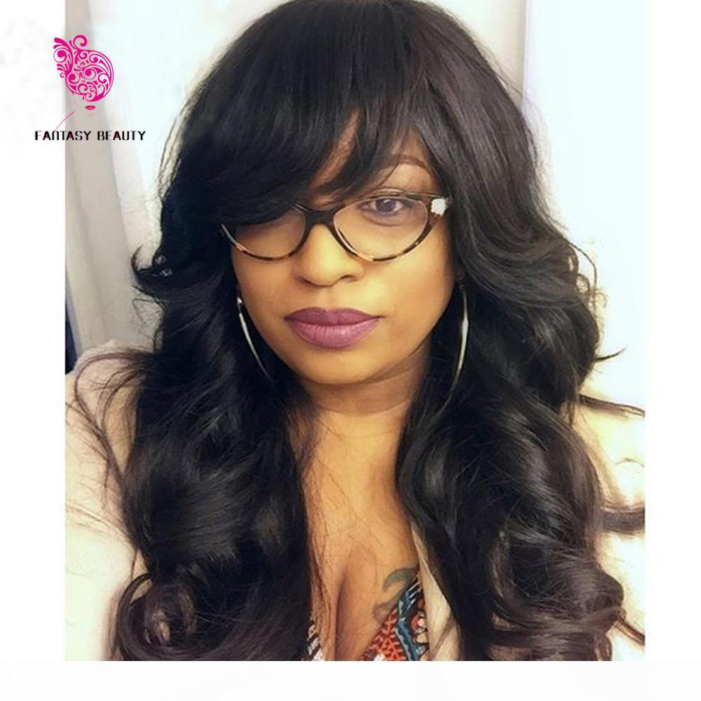 150 Density Unprocessed Virgin Peruvian Body Wavy Full Lace Wigs Glueless Human Hair Lace Front Wig with Bangs Baby Hair