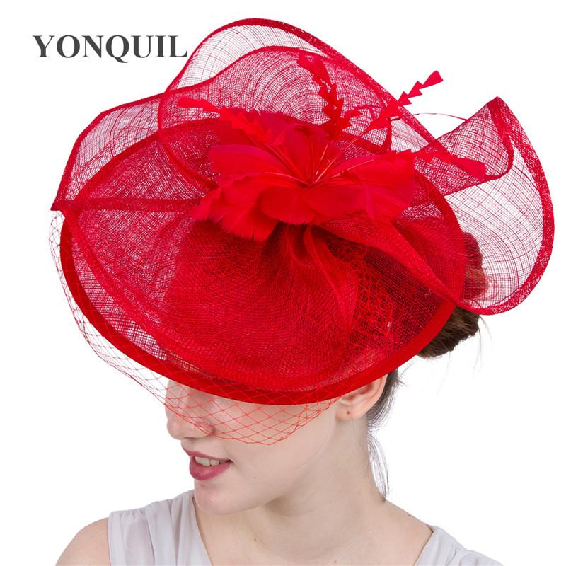 New style red wedding headpiece sinamay kentucky derby royal ascot fascinator hats fashion hair accessories party headbands SYF111