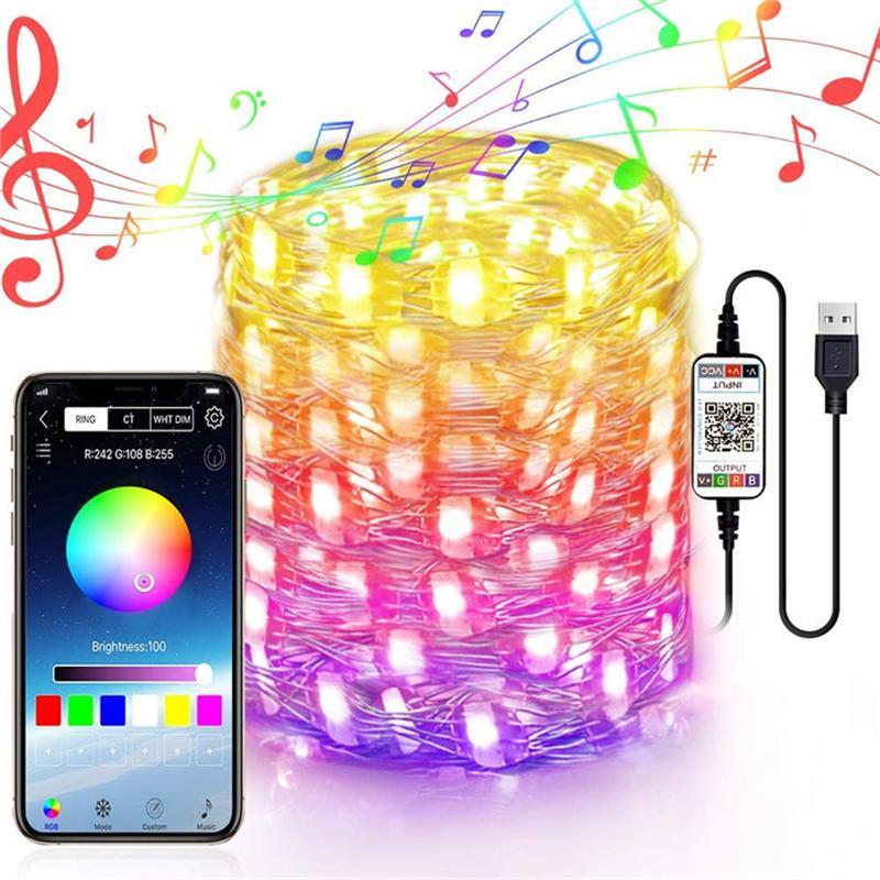 CRESTECH 5M 10M Bluetooth APP управление медный провод Струна LED рождественские огни Свадьба украшение праздник