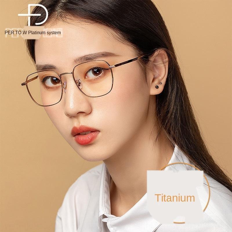 Mt4VF Platin Tao geniş sınır Mavi düz gözlük Kare tam çerçeve kadın saf titanyum gözlük çerçevesi
