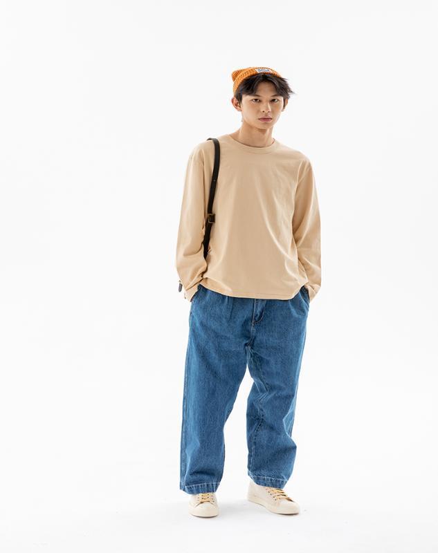 Hommes occasionnels ajustement lâche baggy pantalons en denim indigo