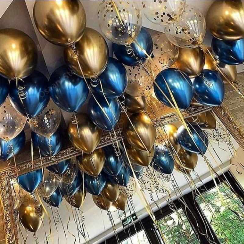 Metalik siyah altın balon açılan seti parti yetişkin doğum günü partisi Noel dekorasyon