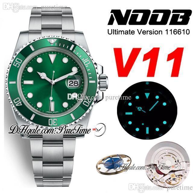 N V11 SA3135 Otomatik Erkek İzle Yeşil Seramik Çerçeve Yeşil Arama 904L Çelik Bilezik Ultimat Sürüm Yeni Paket ETA PTRX Puretime 04