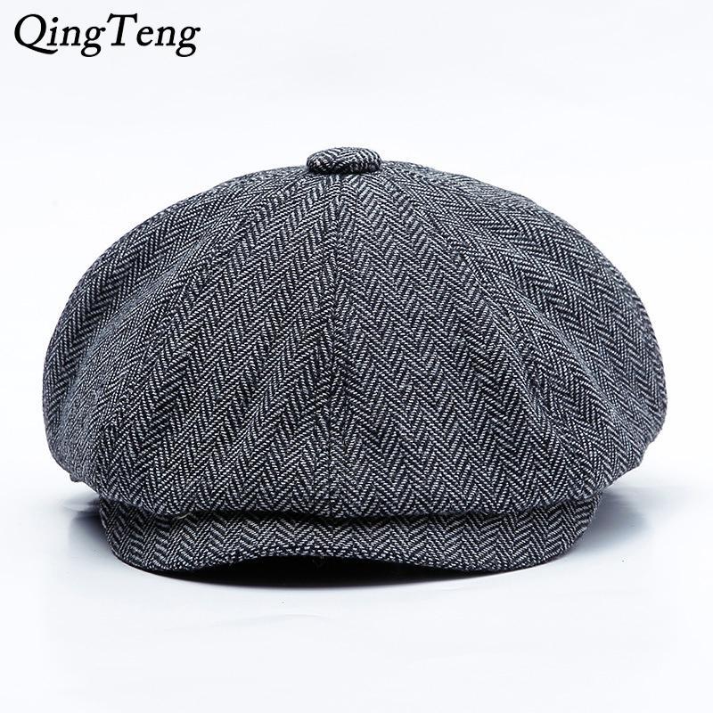 شاحب الغمامة الرجال القبعات قبعة الخريف جديد خمر متعرجة المثمن كاب نسائية عادية القرع قبعة غاتسبي شقة القبعات قبعات