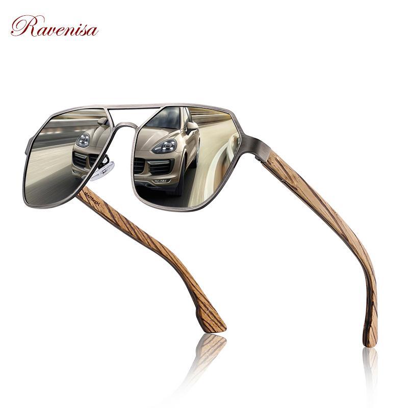 Дерево Солнцезащитные очки поляризованные Wrap кадр Красный Зеркало UV400 объектива женщин Солнцезащитные очки деревянные ручной работы с подарочной коробке