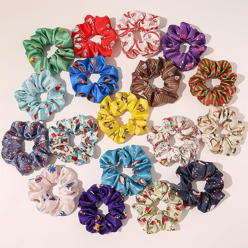Capelli elastici Corea del raso di seta arricciato Natale Ponytail Scrunchy legami dei capelli delle ragazze delle donne dei capelli accessori Headwear