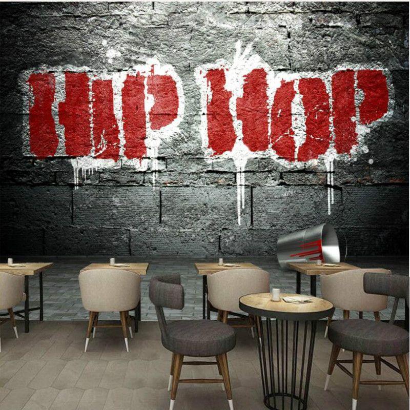 Costumbre 3d de papel de pared decorativo Nostálgico de graffiti hip hop del papel pintado 3D para Bar KTV murales de papel tapiz de fondo Telón de fondo