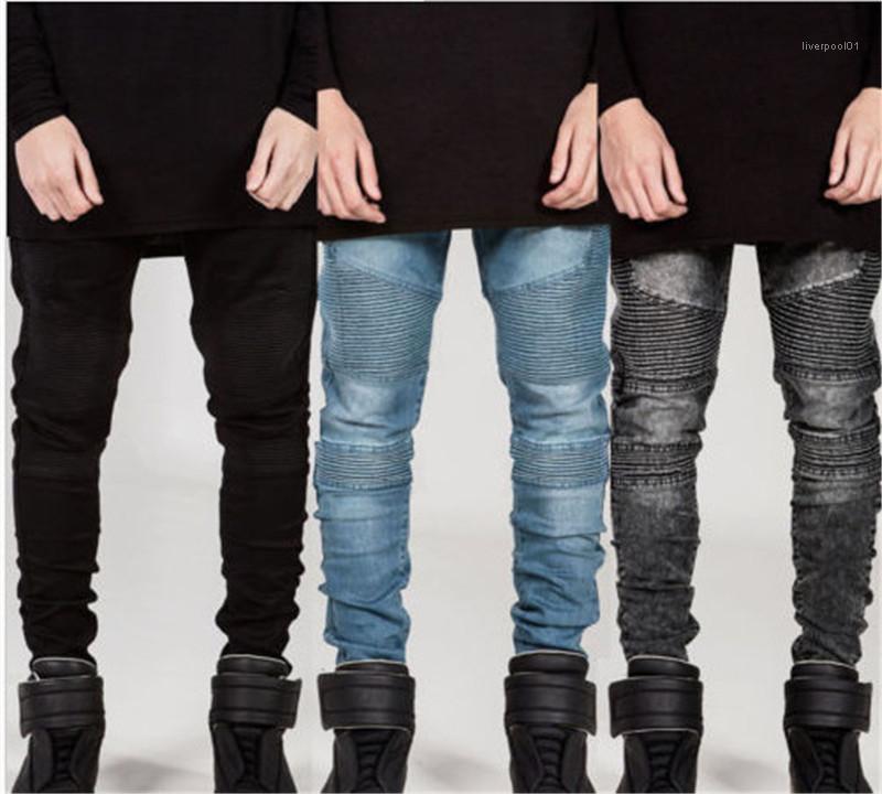Pantolon Moda Katı Renk Yıkanmış Pantolon Erkek Kot Tasarımcı Pileli İnce Kalem