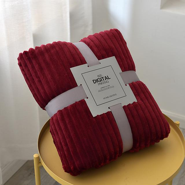 2020 150x200cm suave mullido rayado franela manta en camas Sólido paño grueso y suave felpa banda Winter Sábanas Mantas Colcha cubierta de sofá