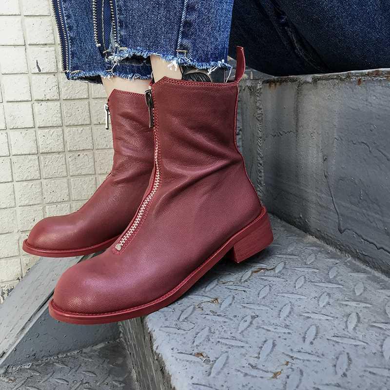 2020 IN Hot Frauen-Knöchel-BootsSolid Farbe Lammfell Super Soft Booties 22-25 cm Länge Wilde Schuhe Frau Erhöhte Westernstiefel