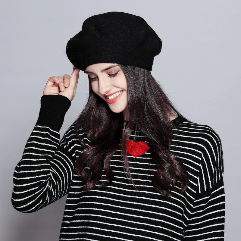 Vintage 100% pura lã Beret Hat Mulheres estilo de moda britânica cor sólida Slouchy Inverno Quente Chapéus fêmea adulta Caps
