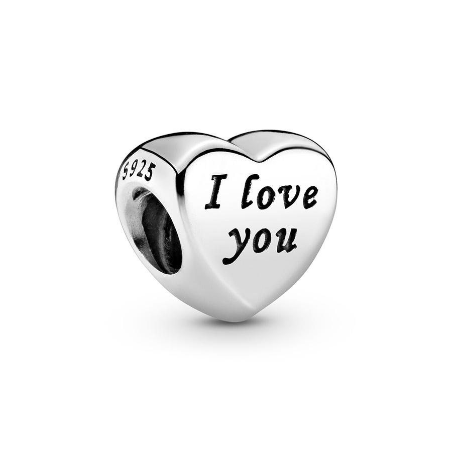 2020 Nova Autêntica Ale 925 Sterling Silver PALAVRAS PALAVRAS DE EU TE AMO Coração Charms Beads Fit Charmes Style Pulseira para DIY Jewelry Fabricando
