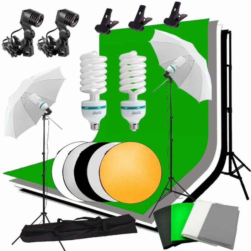 Abeststudio Foto Lighting Kit 2x lampadina, 4xBackdrops, Stand 2x chiari dell'ombrello, 2 * stand Sfondo + 5 in 1 pannello riflettore