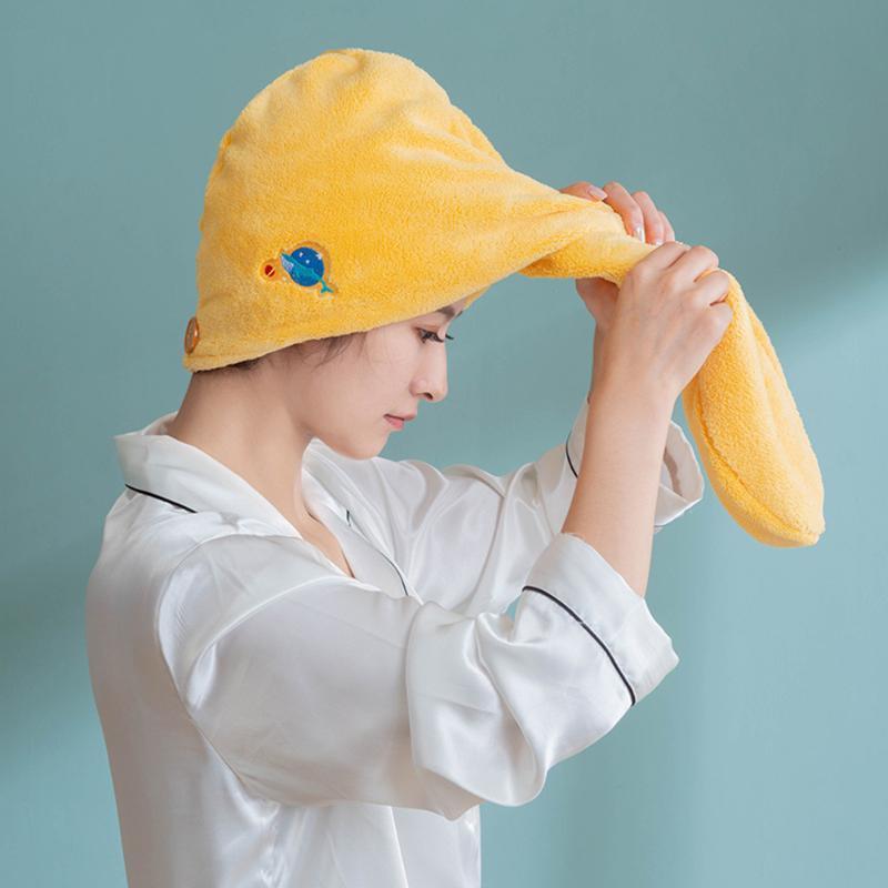 Microfibra de secagem rápida Duche cabelo Enrole Household Coral Velvet espessamento suave e absorvente Duche Cap seco cabelo Limpeza de toalha