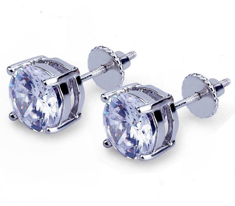 Mens Hip Hop brincos jóias de alta qualidade Moda Rodada Gold Silver Simulado Diamond Earrings For11