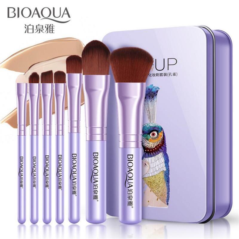 BIOAQUA profesional 7pcs cepillo del maquillaje de sombra de ojos en polvo Fundación cosmética herramienta Pincel suave pelo sintético elefante del pavo real