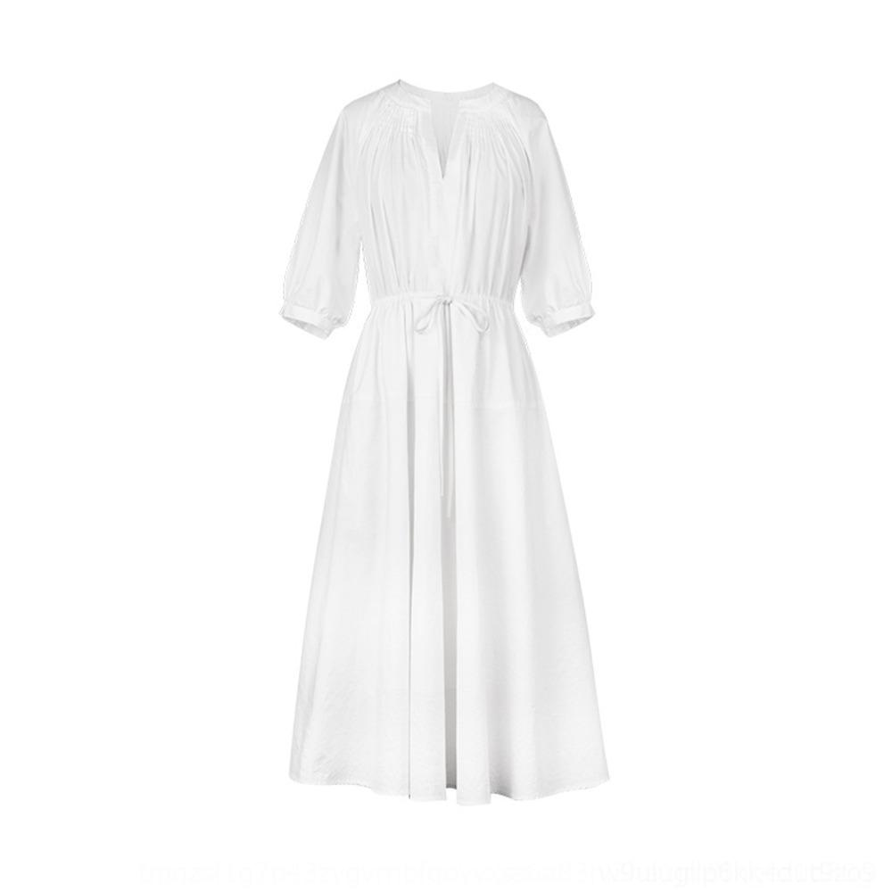 oUHdv Dahuayuan DHY elegant für Kleidsommer V-Ausschnitt Super-Fee Slim-Fit-Tee Französisch weiße mittellange Pause Kleid Taille geschlossenen Frauen
