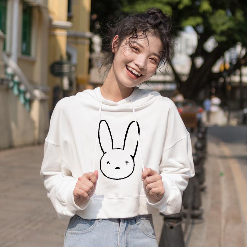 Bad Bunny stampato bicchierino di modo con cappuccio per le donne autunno casual Streetwear Felpa inverno Harajuku incappucciati Pullover Per Ragazze