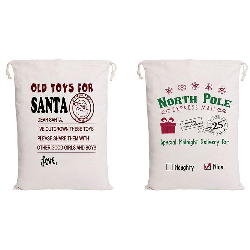 Wholesale 50pcs/lot Christmas Santa Sacks Canvas Drawstring Bags Party Decorations Supplies Personalized Kids Toy Bulk