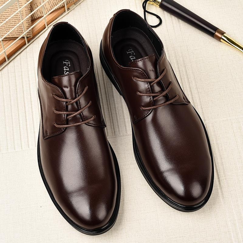 Guderian Big Size 37-47 Sapatos Homens de outono de couro genuíno Sapatos Homens Formal Lace Up confortável Vestido Mens