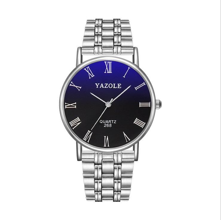 YAZOLE Men Watch with Roman Numerals Quartz Analog Casual Fashion Wrist Watches for Men Stainless Steel Strap Ultra Thin Wristwatch
